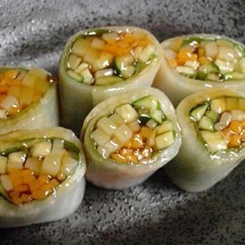 大根の野菜巻き~ポン酢かけ
