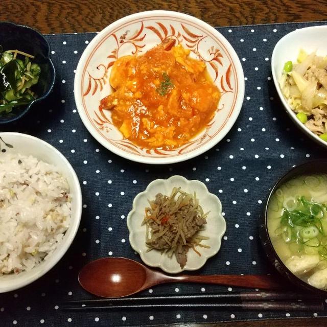 【晩ごはん】海老玉チリ、野菜炒め。