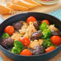 【簡単10分!缶詰レシピ】アツアツおつまみ♪鮭水煮(缶)と椎茸のアヒージョ