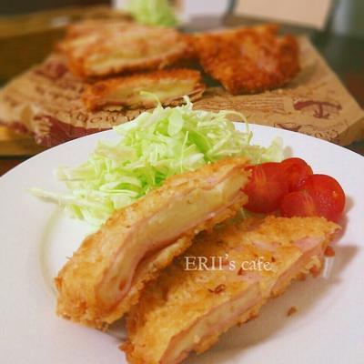 【うちごはん】とろ~りチーズがたまらん♪ポテトハムカツ