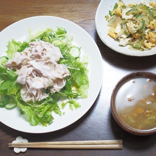 豚しゃぶサラダのお夕飯。
