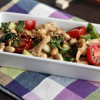 【連載:ナスラックキッチン】ささみと大豆の和風サラダ
