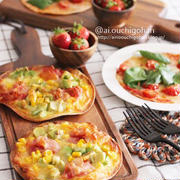 業務用スーパーのトルティーヤの皮で即席ピザ2種♡アボカドベーコンのカレーマヨソースとマルゲリータ♡