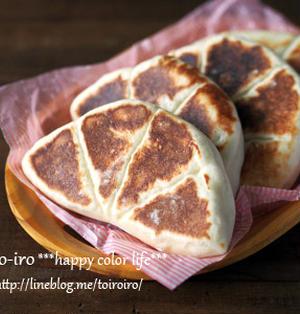 一次発酵のみ★フライパンで焼くチーズナン