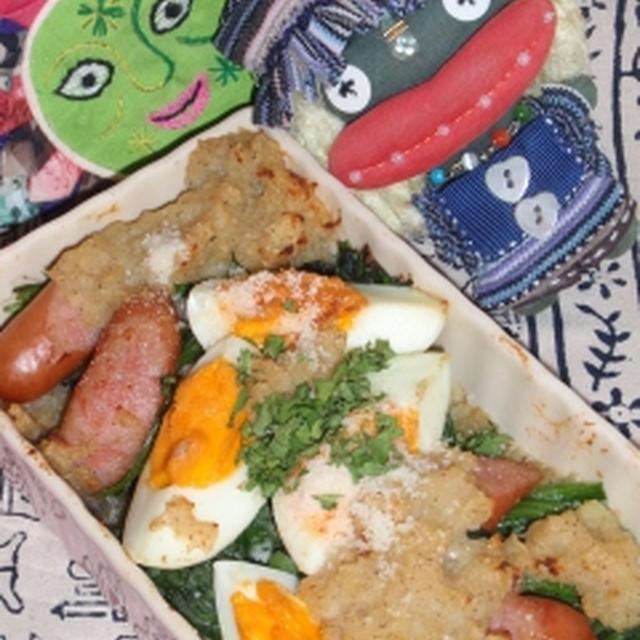 ゆで卵とほうれん草のポテトグラタン&白菜の干し海老煮(お家カフェ)
