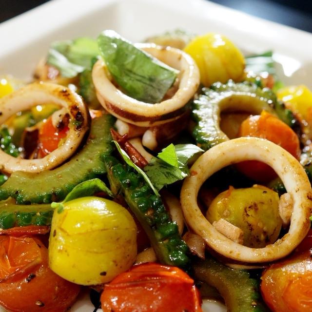 ■簡単に5分で美味しい!!【ゴーヤトマトとスルメ烏賊のイタリアン】です♪