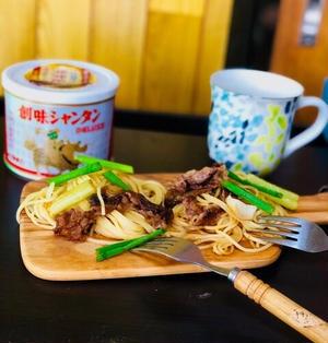牛肉とセロリとエリンギの中華風パスタ♪