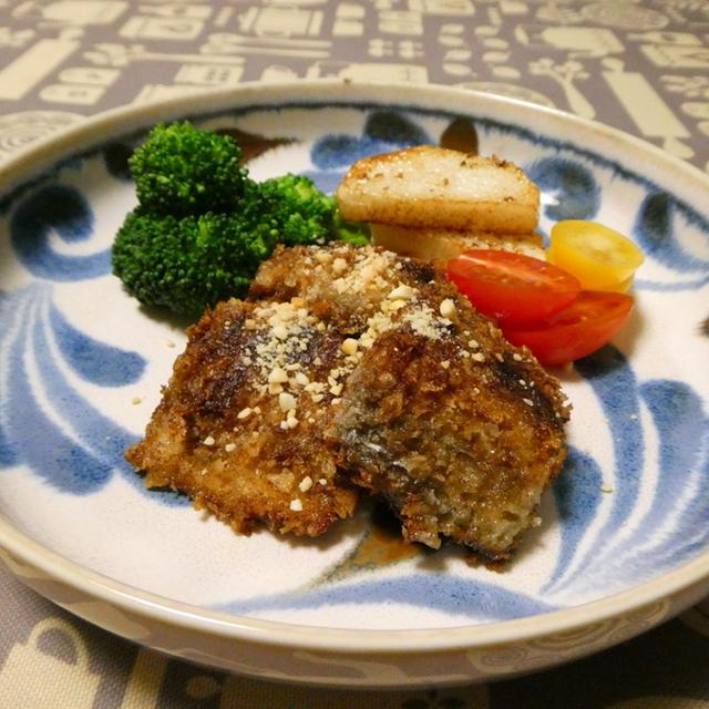 鯖の黒胡椒パン粉焼き