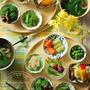 旬菜小鉢料理。野菜の量はたくさん食べる、が基本。