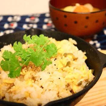 5分でできる❣️オイマヨ卵とザーサイのふんわり炒飯❤️