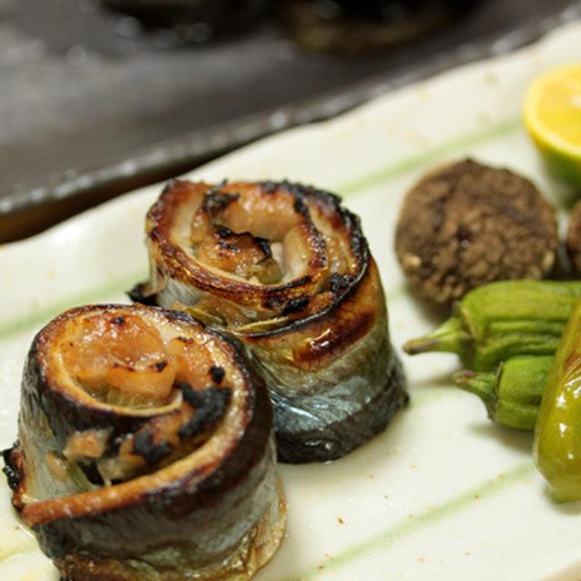 秋刀魚の梅しそロール焼