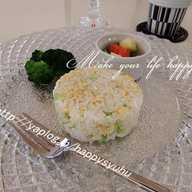 ブロッコリーの茎と卵でパラパラ☆チャ―ハン