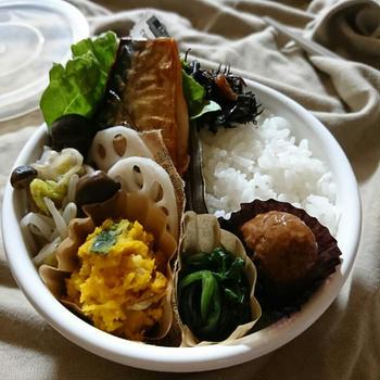 いちばんのお弁当〜鯖の塩焼きと作りおき常備菜〜野田ほうろうのまる弁