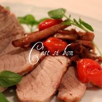豚もも肉のグリル・トマトとごぼうのバルサミコソースで