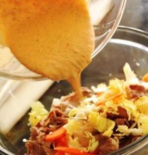 ごま味噌豆板醤マヨドレッシングと牛しゃぶサラダ