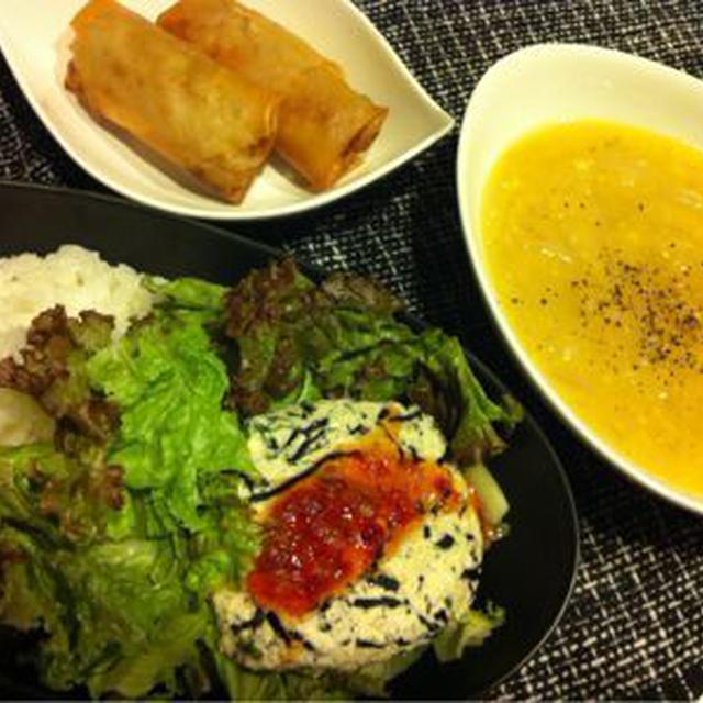 キャベツ春巻き/豆腐のスウィートチリ丼