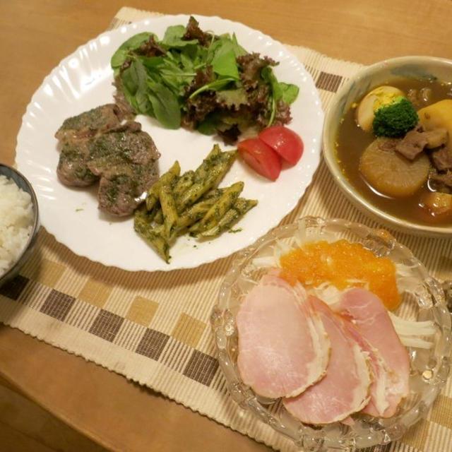 ラムステーキ&リメイクスープカレーの晩ご飯 と 夏の終わりの花壇♪
