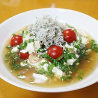 火を使わずに時短簡単、和の薬膳くずし豆腐スープ~v(^0^)/