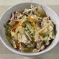 豚肉の柳川風煮♪ たまごとじゃこと水菜のサラダ♪ 鮭の塩焼き♪