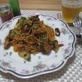 お手軽!ワンポットで♡鯖と水茄子のトマト味噌パスタ by masaさん