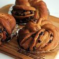 栗とチョコのねじねじパンをコーヒー生地で