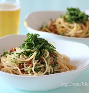 夏パスタ!冷凍麺で納豆青じそスパゲッティ