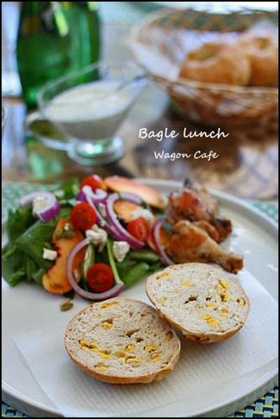 コーンベーグルでワンプレートランチ** Salad lunch /w corn bagels