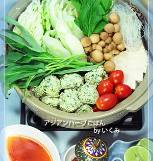 バジル香る鶏とチーズのつみれでアジアンティーク鍋★おばさん人間