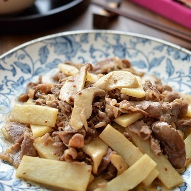 牛肉と長芋とエリンギの、マスタードバター醤油 ~パワーフードで体力・免疫力を強化しよう!!