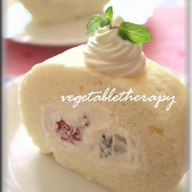 卵白で☆真っ白ふわふわ♪米粉のエンジェルロールケーキ