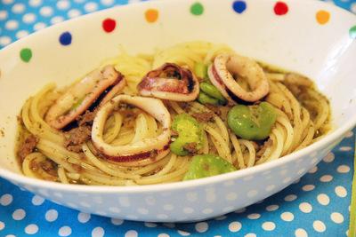 イカ肝とソラ豆のアーリオ・オーリオの作り方