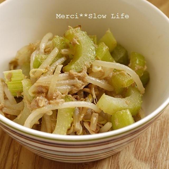 激安でできる簡単副菜♪ もやしとセロリのツナマヨ炒め