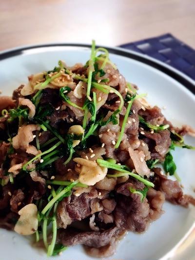 牛肉と豆苗のスタミナ炒め。