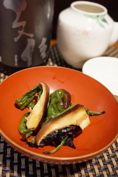 高知食材で一献、しし唐と椎茸の柚子ポン和え、山ぶきとちりめんの卯の花和え、とびうお団子汁で