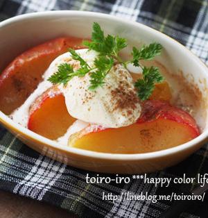 週末のおやつに♪レンジ&トースターで超簡単★焼きリンゴ
