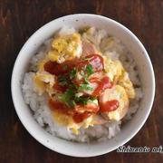 今日の のっけごはん~魚肉ソーセージの卵とじのっけごはん~