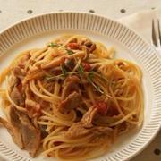 パスタweek♪~豚肉ときのこのあっさりトマトスパゲティ