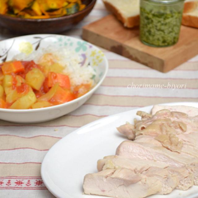 塩鶏、トマトカレー。冷やし塩酢かぼちゃ。翌日はカレーつけそばの2日分晩ご飯。