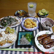 【晩酌】豚肉ともやしとにらの炒め物・かれいのムニエルタルタルソース・小海老の天ぷら…