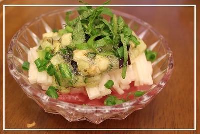 マグロと長芋の山形のだしのせ小鉢::オカキチ納涼祭::