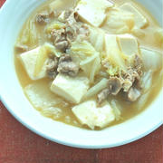 フライパンで簡単10分!生しょうがで減塩だけど美味しい〜白菜と豆腐と豚肉のとろとろ炒め煮。