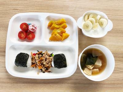 THU 09/26/2019 【幼児食】朝ごはん・ひじき煮の納豆和え・コリンキーの粉...