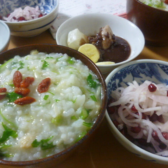 帆立の中華粥♪で七草がゆ朝食(ザクロで色々★)