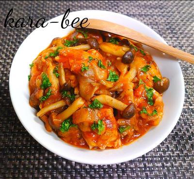 【静岡クッキングアンバサダー】野菜の水分だけで旨味たっぷり♪きのことチキンの濃厚トマト煮込み