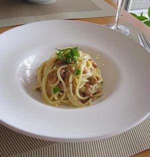 納豆チーズクリーム スパゲッティ