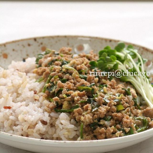 スタミナ満点♪ 韮とひき肉の甘酢半熟卵丼