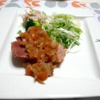 ハムステーキ トマトバルサミコ酢風味 ♪  バルサミコ酢