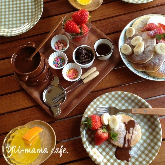 チョコフォンデュバナナパンケーキ〜ハイブリッドスイーツ?