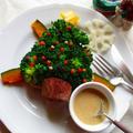 ブロッコリーも肉だねも、レンジ調理!だから簡単、美味しいカラフルミニクリスマスツリー♪