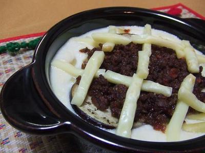 中華風ナスミートグラタン♪お豆腐でノンオイル・の巻